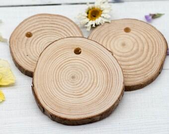 Natural Wood Pendant, 2 1/2 Inch, 5pcs, Wood Pendants, Round Pendants, Craft Supply -B1006