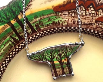 Broken china jewelry necklace vintage Art Nouveau Trees forest made from a broken plate