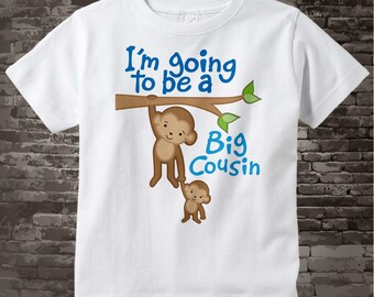 I'm Going to Be A Big Cousin Shirt, Big Cousin Onesie, Personalized Big Cousin Shirt, Monkey Shirt with Unknown Sex Baby 03142012b