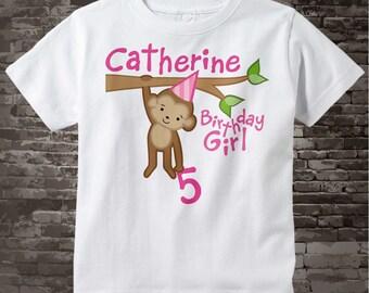 Girls 5th Birthday Shirt, Fifth Birthday Monkey Shirt, Personalized Birthday Girl Monkey Shirt any Age 08062014a