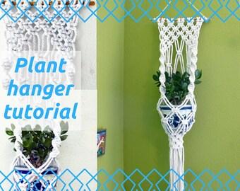 Macrame Plant Hanger Pattern (UK) - Patio Decor - Home Decor 70's Digital Instant Download