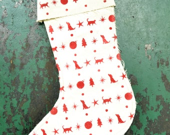 Christmas Stocking Hand-Stenciled Dog and Cat Pattern on Cotton Canvas