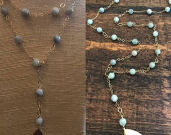 long adjustable blue agate necklace with pendant