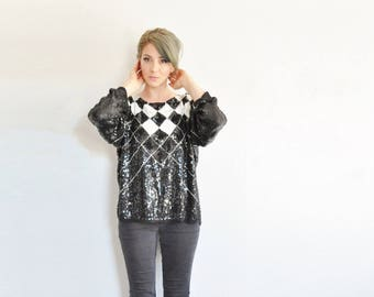 sequin checker court jester blouse . black white silver sequin bling shirt .medium.large.extra large.xl