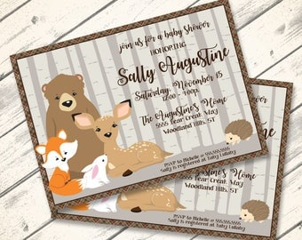 Woodland Shower Invitation, Baby Shower, Woodland Animals, Bear,Fox,Deer, Forest | Editable Text - Lndscp DIY Instant Download PDF Printable