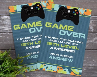 Video Game Party Thank You Card - Video Gamer Thank You, Birthday, Gamer Truck, Blue Camo | DIY Editable Text Instant Download PDF Printable