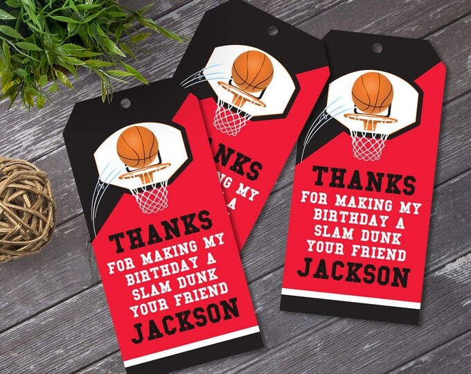 Basketball Favor Tag - Basketball Party, Basketball Birthday, Thank You Tag, Self-Editing,Red | DIY Editable Text INSTANT DOWNLOAD Printable