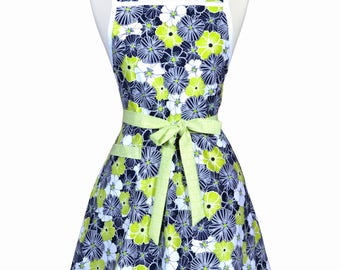 50s Style Retro Apron - Modern Lime Green and Black Floral Womans Vintage Inspired Cute Housewife Kitchen Apron with Pocket (DP)