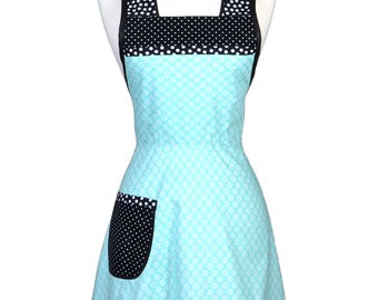 50s Style Retro Apron / Petite Aqua Floral Womans Vintage Inspired Cute Full Old Fashioned Kitchen Apron to Monogram Embroidery (FM)