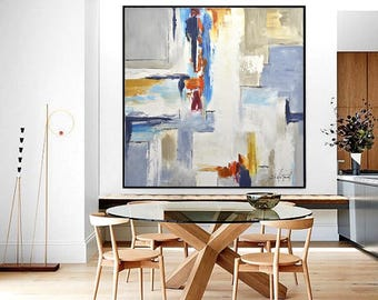 Large Art Original Abstract Painting Colorful Artwork Oil Painting Contemporary Art Interior Design Framed Painting Wall Art Sky Whitman