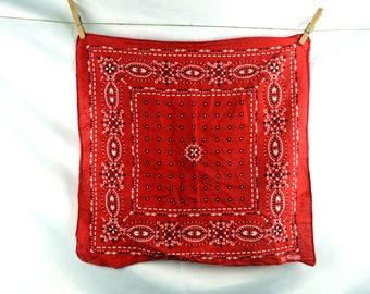 Vintage Red Elephant Trunk Up Cotton Bandana Kerchief - #D14