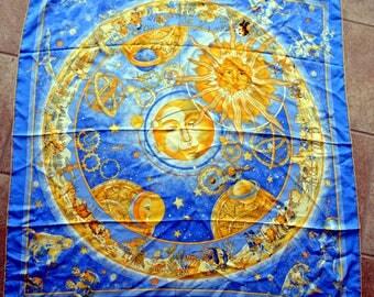 Vintage Large Silk Celestial Sun Moon Stars Astrology Scarf