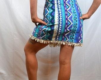 Vintage 80s Geometric Western California Concepts Cotton Mini Skirt