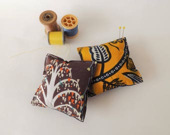 Recycled Fabric Swatch, Scrap and Offcut Pin Cushion with Eco Friendly Wadding, Brown or Yellow Print