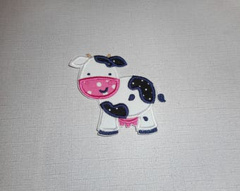 Free Shipping Ready to Ship Cow machine embroidery iron on applique