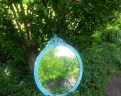 FOR LAURA / Mirror Ornate Cottage Round Mirror Fancy Vintage Mirror Poppy Cottage Painted Furniture Turquoise Blue