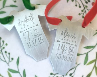 Personalized Baby's First Christmas ornament - Baby Gift, Shower Gift, onesie - Baby Stats - Statistics - Baby Clothes Christmas Ornament