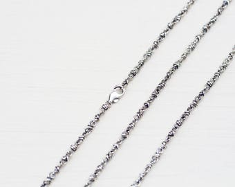 Artisan Handcrafted Silver Chain Necklace, oxidized sterling silver links, lobster clasp, unisex chain for pendant