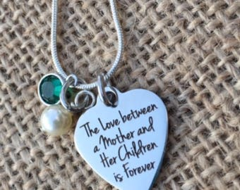 Personalized Laser Engraved Mother Children Heart Charm Birthstone Necklace