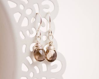 Smoky Quartz Earrings, Pear Briolette, Wire Wrapped, Sterling Silver