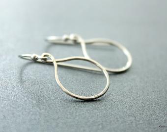 Teardrop Hoop Earrings , Small Hoop Earrings , Sterling Silver Hoop Earrings