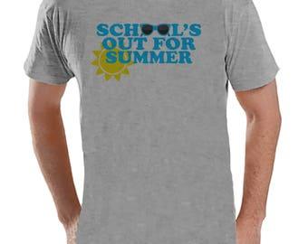 Teacher Shirts - School's Out For Summer - Teacher Gift - Teacher Appreciation Gift - Blue Sunglasses Summer Shirt - Men's Grey T-shirt