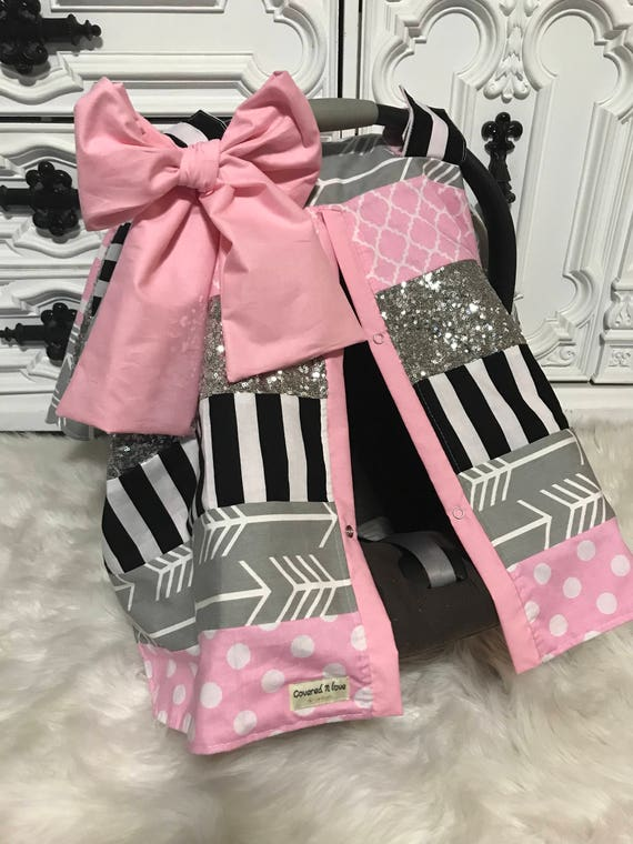 Car seat canopy , ready to ship , comes with matching Jumbo bow , car seat cover
