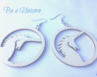 Earrings - Wooden Unicorn - Make a Statement - Natural