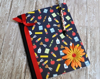 Blue, Red and Yellow School Altered Composition Book, Journal, Altered Notebook, Back to School, Stationery, Teacher Gift, School Supply
