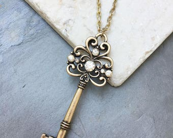 Skeleton  key necklace with bling