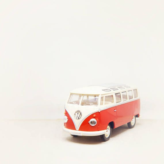 Red VW Bus Print, Toy Photograph, Boys Room Decor, Kids Room Decor, Nursery Wall Art, Whimsical Office Art, Girls Room, Baby Nursery Decor