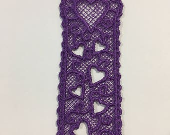 Pretty Purple Heart Lace Bookmark