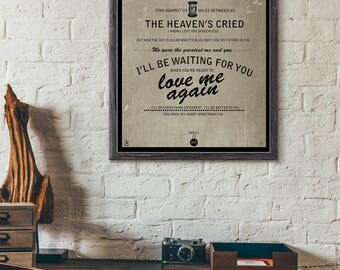I'll Be Waiting / Adele / Lyric / DIGITAL  Typography Poster / Printable