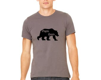 Papa Bear Shirt, Family Shirt Sets, Short Sleeved Cotton Crewneck Men's Graphic Tee Shirt, Hand Printed, Gifts For Men, New Baby Gift Bears