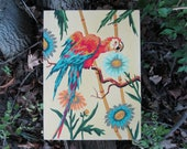 Vintage Paint by Number Tropical Red Parrot Craftint Mid Century 1956 Atomic PBN Unframed Painting 1950s