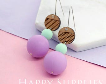 1 Pair (SBW09) Silicone Balls Laser Cut Geometric Wooden Dangle Earrings - HEW Series - Ocean Sea Summer Beach