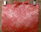Set of 2 Vintage 1960's Schiaparelli Pink Silk Lace Hosiery Lingerie Bags / Travel / Storage