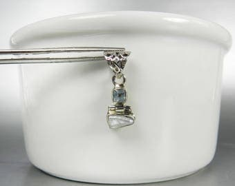Blue Topaz Freshwater Pearl Pendant Sterling Silver Pearl Pendant Square Gemstone Silver Filigree Baroque Pearl Drop
