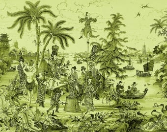 antique french chinoiserie wallpaper acrobat tropical trees pagoda tropical birds illustration digital download