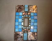 MOSAIC Light Switch Plate -  Single Switch, Wall Art, Wall Plate, Gold Van Gogh Glass, Shades of Blue, gold, Silver