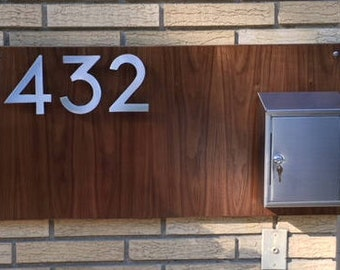 Modern Walnut and stainless Address and mailbox Plaque