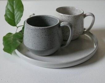 White Speckled Mug; Gray Speckled Mug; Coffee Mug; Ceramic Coffee Mug; Handmade Mug