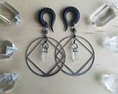 Silver Diamond Quartz Crystal Hoop Gauges / Plugs with DT Crystal Drops