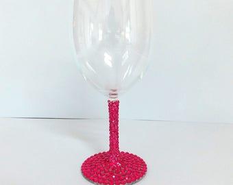 Hot Pink, Fuchsia Rhinestone Decorated Wine Glasses, Toasting, Wedding, Shower, Bridesmaid Glasses, Choose Any Quantity