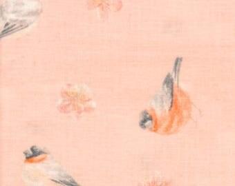 Japanese Tenugui Cotton Fabric, Ume Flower, Plum Blossom Design, Botanical, Lie bird, Bird, Hand Dyed Art Fabric, Home Decor, Scarf, h639