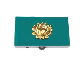 Lotus Flower Metal Pill Box Hand Painted Enamel in Teal Enamel Floral Inspired Pill Case with Personalized and Color Options