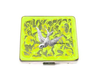 Swallow Bird Weekly Pill Box inlaid in Hand Painted Yellow Enamel Swirl Design with Personalized and Color Options Available