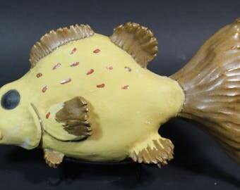 Hand Made Ceramic Grouper Fish decorative sea life wall hanging art sculpture