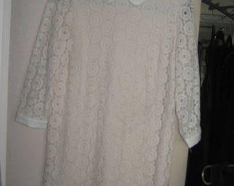 Vintage Shift Lace Dress/White Cotton Lace Dress/60's Vintage Lace dress