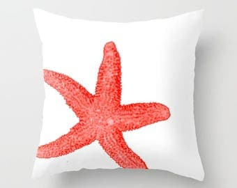 Coral Starfish accent pillow - with or without hypoallergenic pillow insert - Coastal Decor for beach living - Made to Order